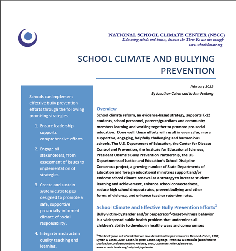 bullying and supportive school climate Friday, january 22, 2016 - this one-day conference will convene minnesota educators, school support staff, parents, student leaders and education stakeholders to increase knowledge about bullying prevention and how to create a positive school climate.